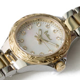 Shell Face Watch Yellow Gold Face + Silver Belt