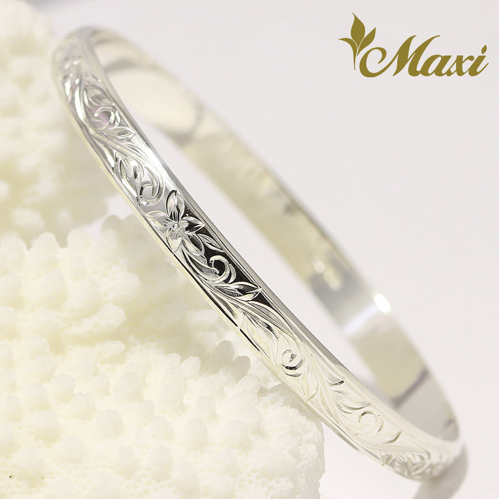 [Silver 925] 6mm (W) Border Edge Closed Bangle/ Bracelet