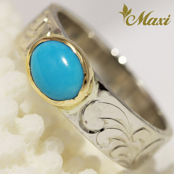 [14K Gold] 6mm Frame Turquoise Ring [Made to Order]