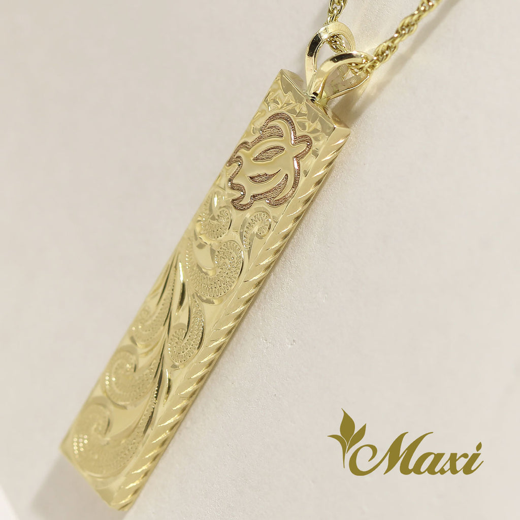 [14K Gold]  6mm width Bar Pendant-Honu *Made-to-order*(TRDSP)