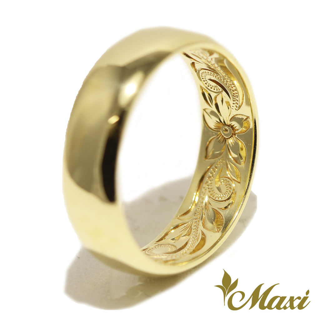 [14K Gold] Inside Engraved Barrel Ring-6mm width [Made to Order] (R0584)
