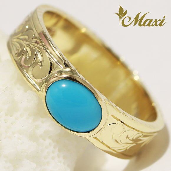 [14K Gold] 6mm*1.5mm with 6mm*8mm Turquoise Ring [Made to Order]