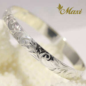 [Silver 925] Hawaiian 8mm Closed Bangle Bracelet with Lettering