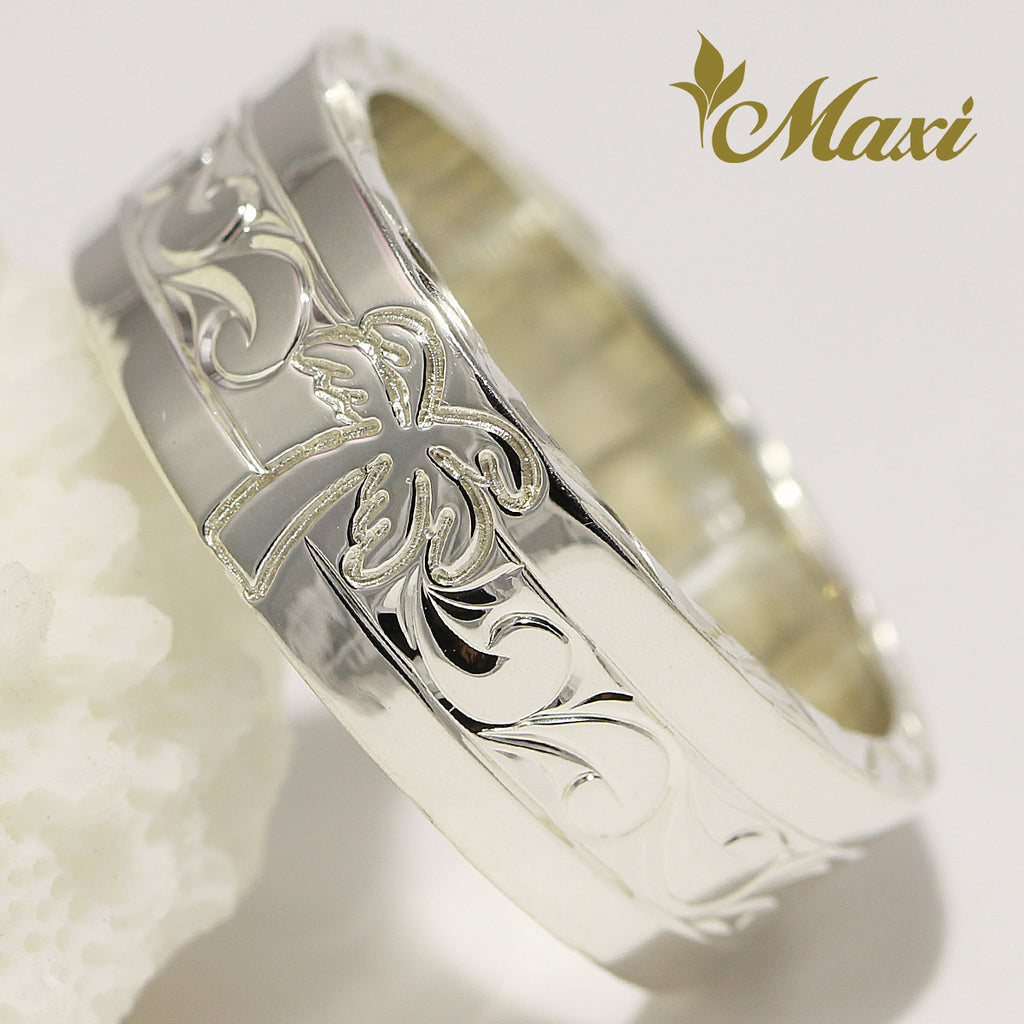 [Silver 925] 8mm*2mm Ring with Palm Tree [Made to Order]