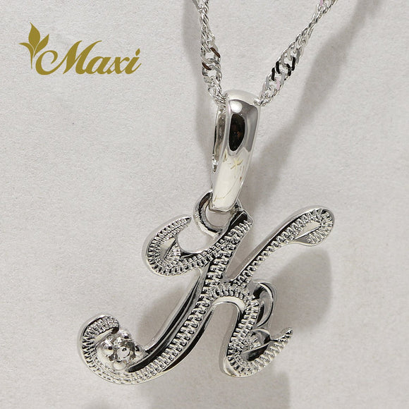[14K White Gold] Initial Pendant with Crystal stone / Hand engraved Hawaiian Old English design (P0101)
