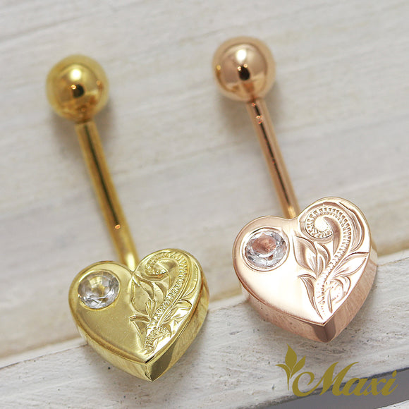 14K Gold -Heart Shaped Body Pierce with Crystal Stone/ Hand Engraved Traditional Hawaiian Design(A0251)