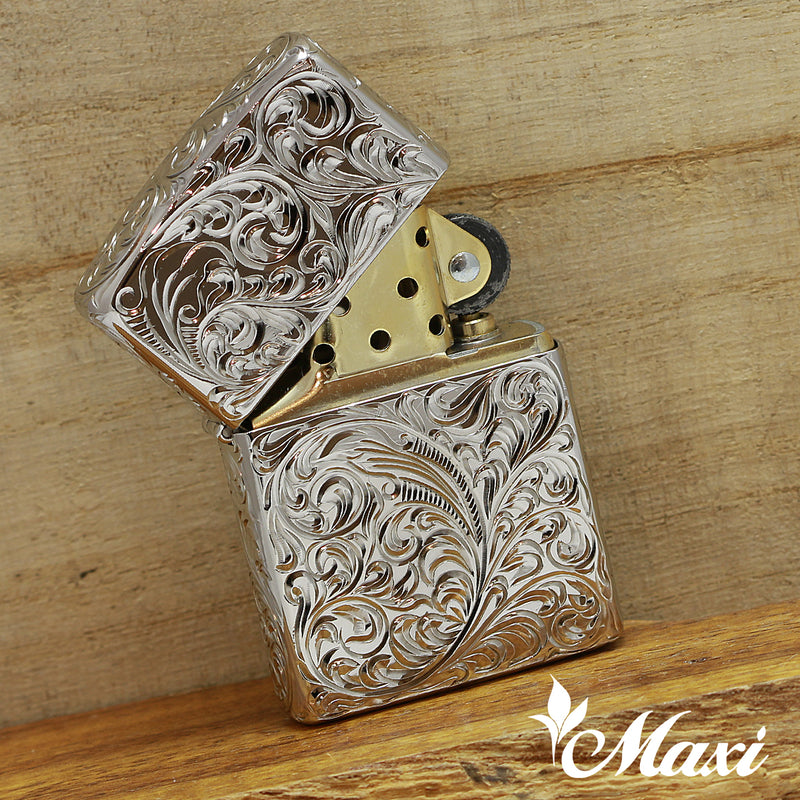[Copper Black Chrome Rhodium Coated] / Zippo Lighter Case / Hand Engraved Hawaiian Heritage Design*Made-to-order*(A0386)
