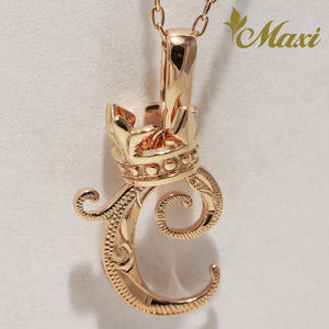 [14K Pink Gold] Hawaiian Heritage Old English Initial Pendant with Crown / Hand Engraved Traditional Hawaiian Design (P0428/A0111)