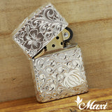 Copper Sterling Silver Rhodium Coated / Zippo Lighter Case / Hand Engraved Hawaiian Heritage Design(A0466)