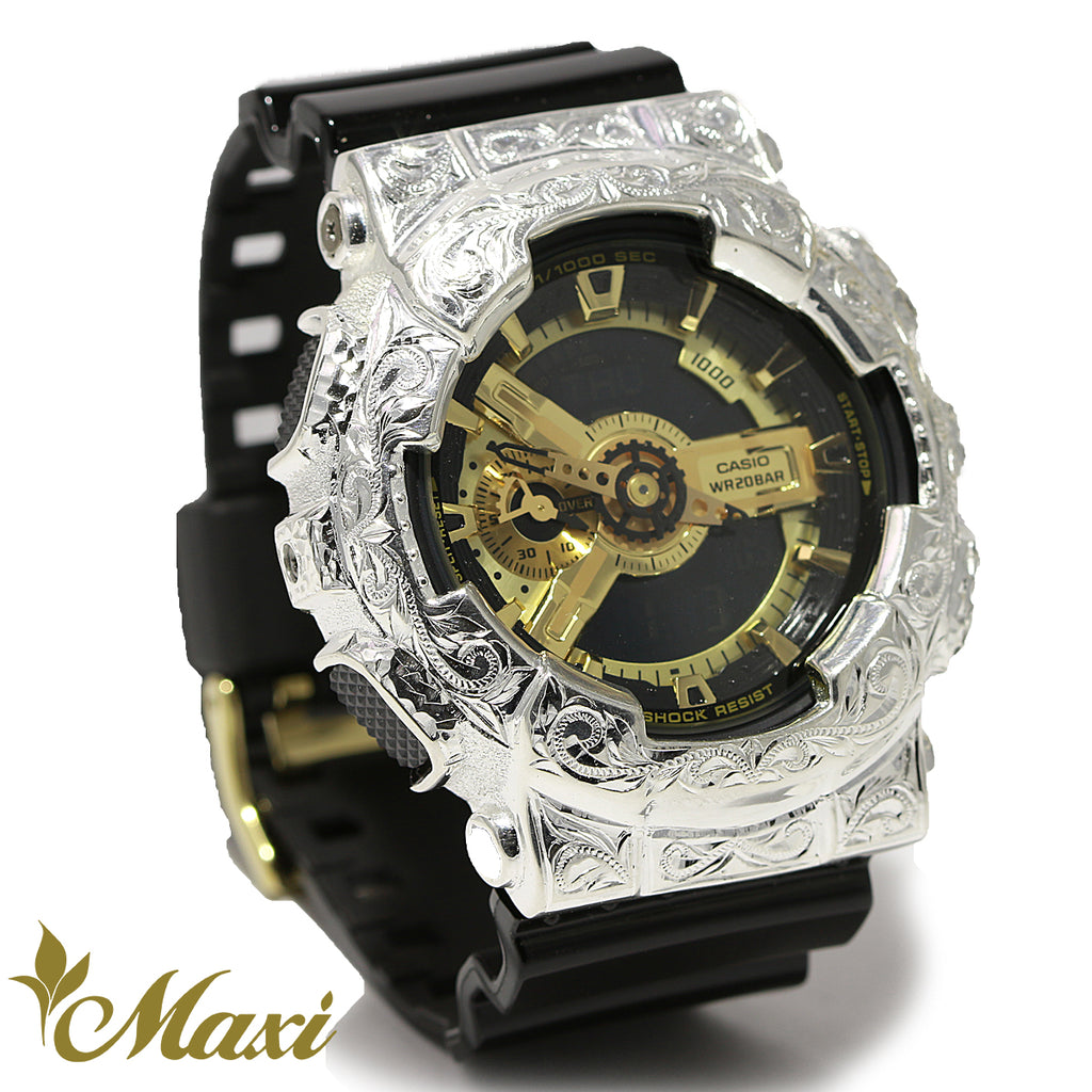 [Silver 925] G-Shock Watch with Hand Engraved Case -Large (A0516) [Made to Order]