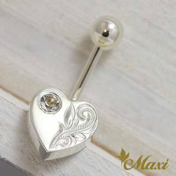 Silver 925 -Heart Shaped Body Pierce with Crystal Stone/ Hand Engraved Traditional Hawaiian Design(A0251)