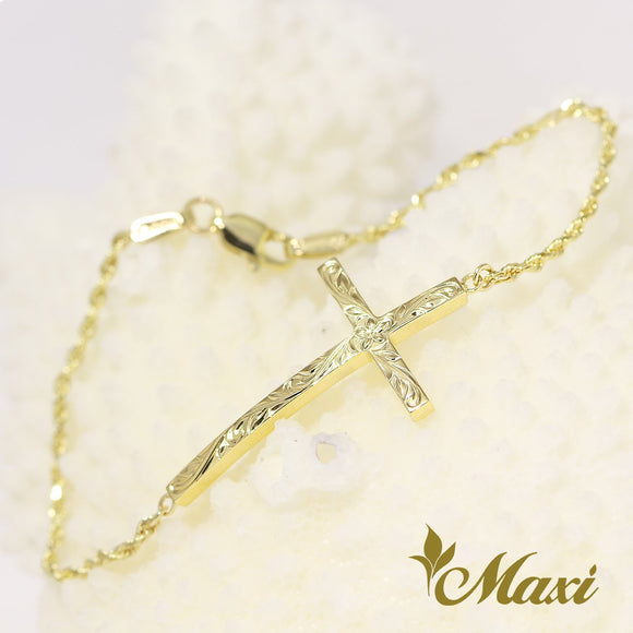 [14K Yellow Gold] Hawaiian design cross bracelet/Hand engraved Old English design *take 3-4 weeks*