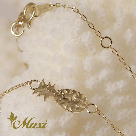 14K Yellow Gold Bracelet -Hand Engraved Traditional Hawaiian Design (B0594)