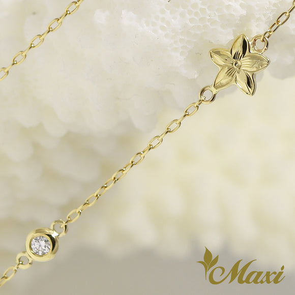 [14K Yellow Gold] Plumeria Charm Bracelet with *Diamond-Hand Engraved Traditional Hawaiian Design (B0177)