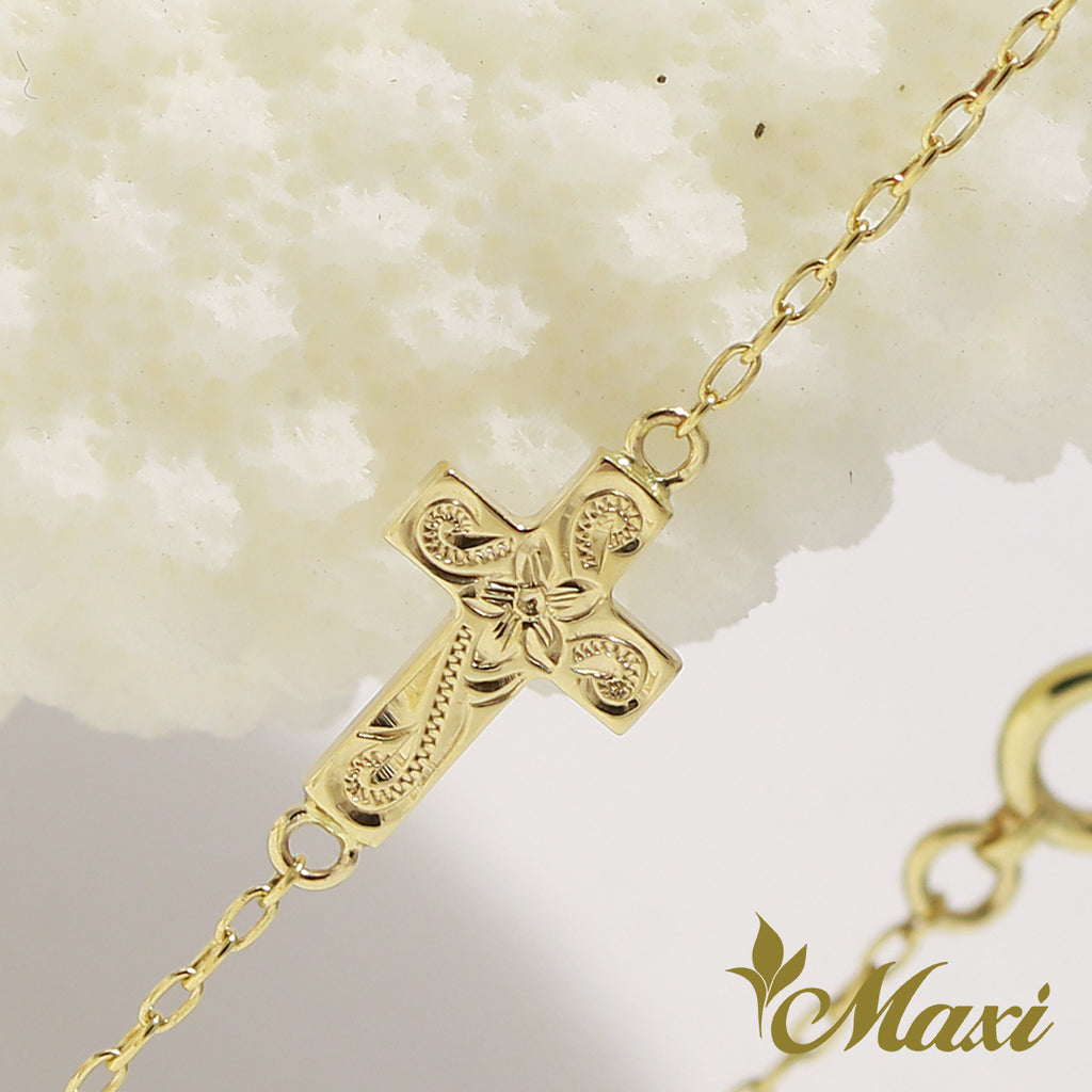 [14K Yellow Gold] Cross Charm Bracelet with 0.03ct Diamond-Hand Engraved Traditional Hawaiian Design (B0179)