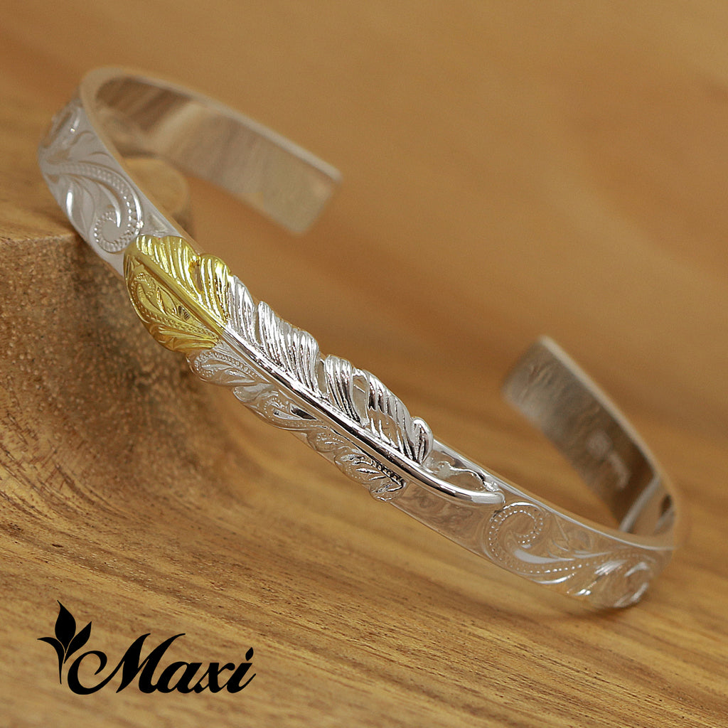 [Silver 925] Yellow Gold Face-Hand Engraved Traditional Hawaiian Design (B0477) *SALE