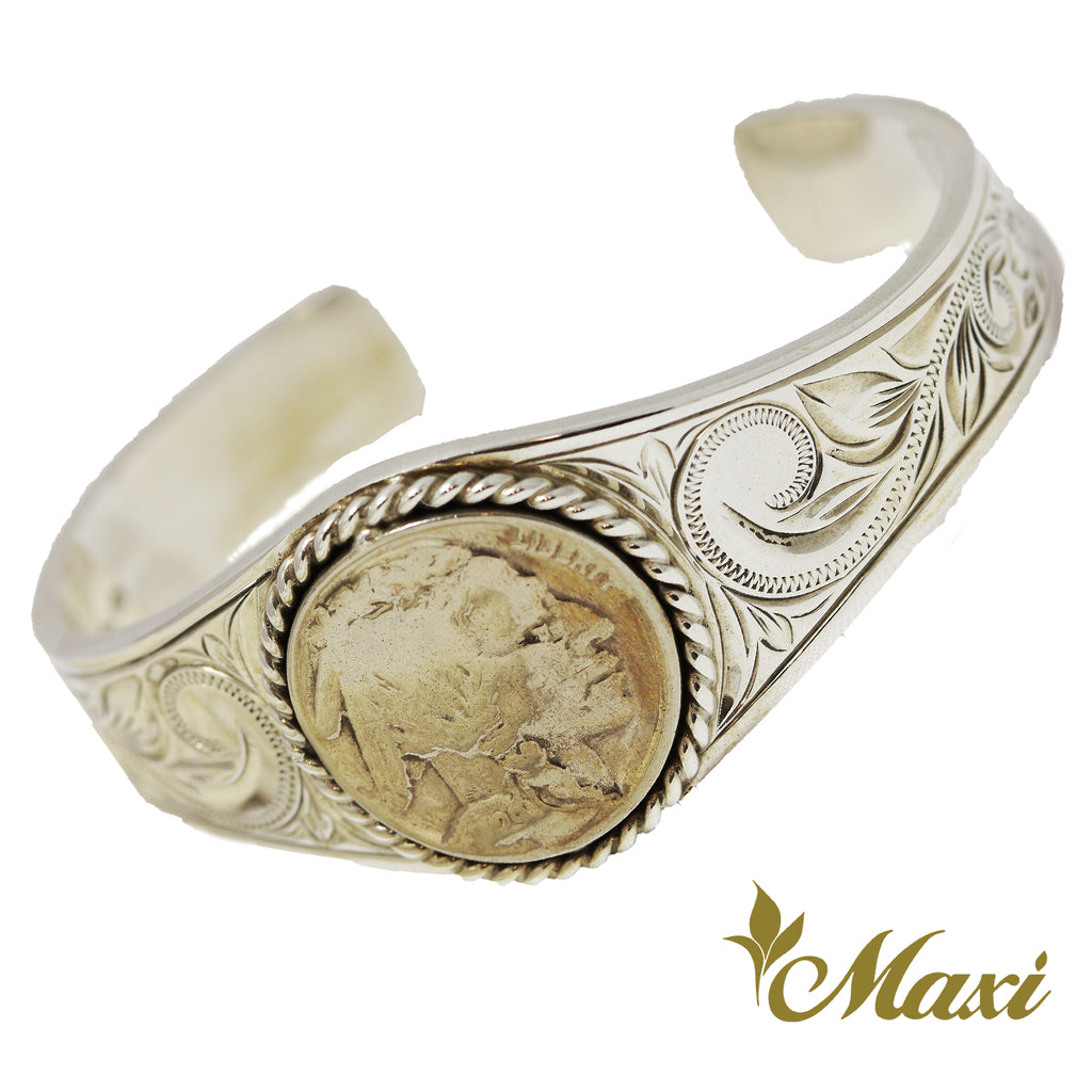 [Silver 925] Buffalo Nickel Coin Bangle (B0504) [Made to Order]