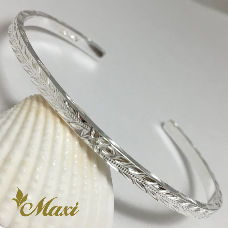 Silver 925 3mm Hawaiian traditional design Bangle-Hand Engraved Traditional Hawaiian Design (B0518)