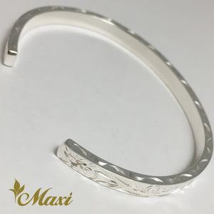 [Silver 925] 3mm Hawaiian traditional design Bangle-Hand Engraved Traditional Hawaiian Design*Made-to-order* (B0519)