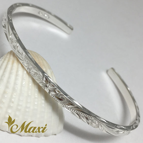 Silver 925 3mm Hawaiian traditional design Bangle-Hand Engraved Traditional Hawaiian Design (B0519)