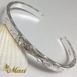 Silver 925 4mm Hawaiian traditional design Bangle-Hand Engraved Traditional Hawaiian Design (B0519)