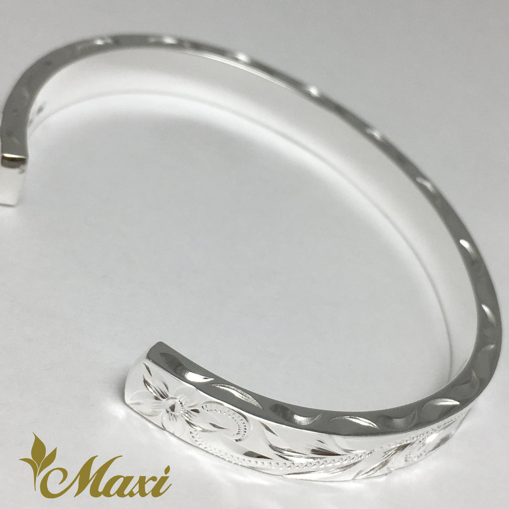 [Silver 925] 6mm Hawaiian traditional design Bangle-Hand Engraved Traditional Hawaiian Design (B0520)