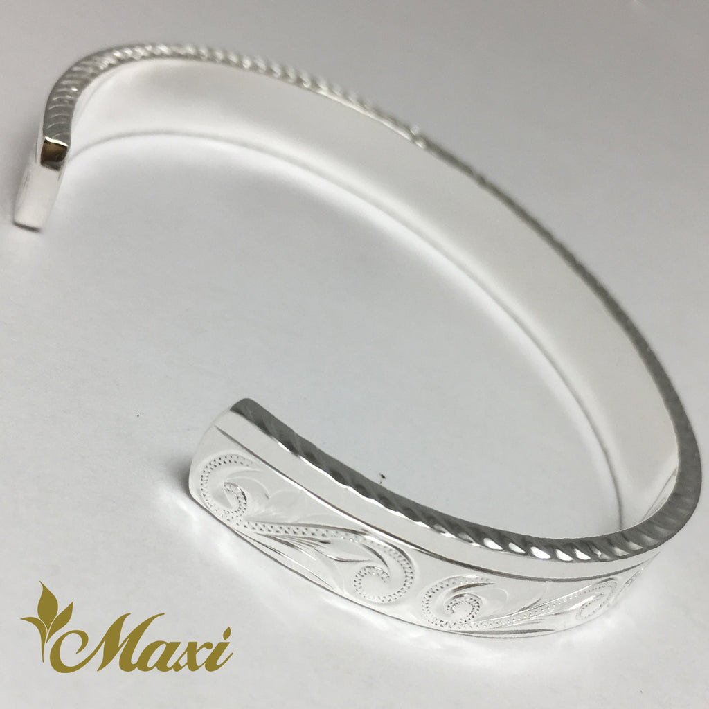 [Silver 925] 8mm Hawaiian traditional design Bangle-Hand Engraved Traditional Hawaiian Design (B0521)