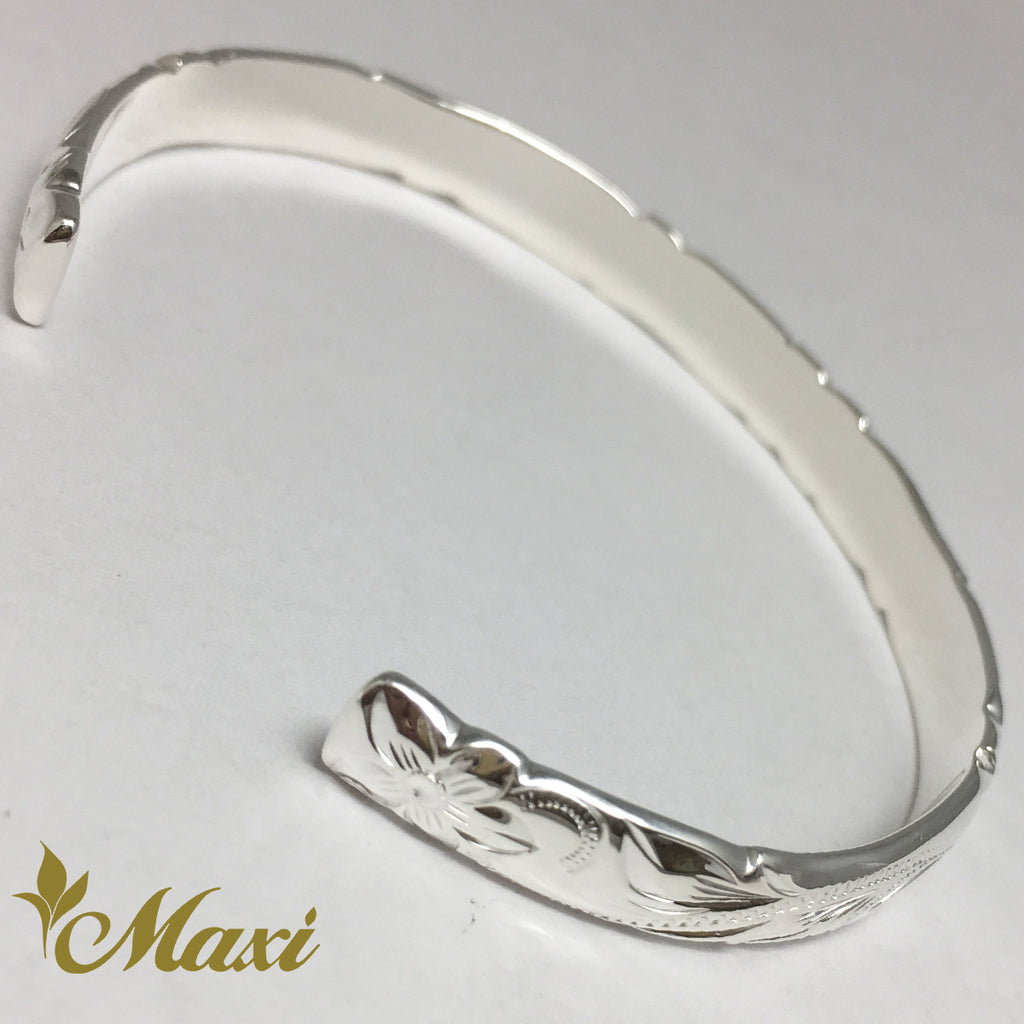 [Silver 925] 6mm Hawaiian traditional design Bangle-Hand Engraved Traditional Hawaiian Design (B0522)