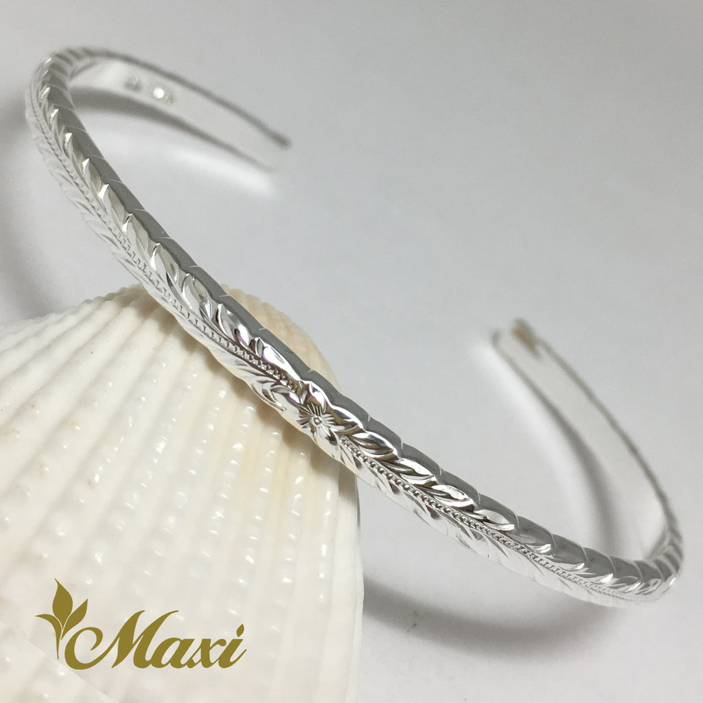 [Silver 925] 3mm Hawaiian traditional design Bangle-Hand Engraved Traditional Hawaiian Design (B0523)