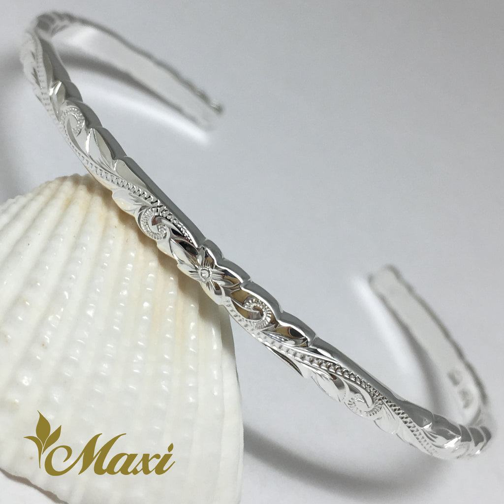 [Silver 925] 3mm Hawaiian traditional design Bangle-Hand Engraved Traditional Hawaiian Design (B0524)