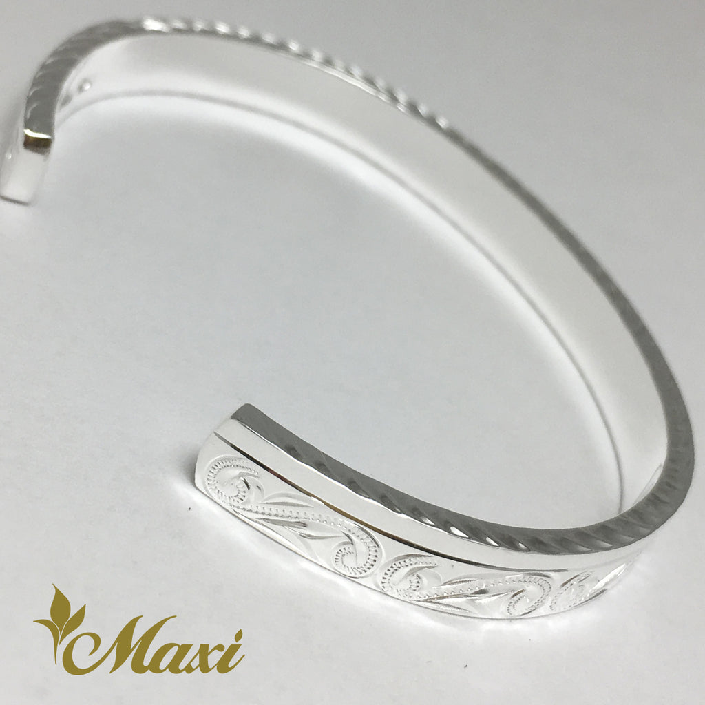 [Silver 925] 6mm Hawaiian traditional design Bangle-Hand Engraved Traditional Hawaiian Design (B0525)