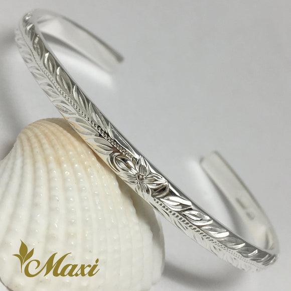 Silver 925 4mm Hawaiian traditional design Bangle-Hand Engraved Traditional Hawaiian Design (B0526)