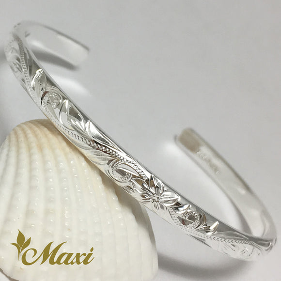 Silver 925 4mm Hawaiian traditional design Bangle-Hand Engraved Traditional Hawaiian Design (B0527)