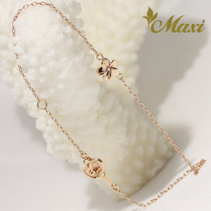 [14K Pink Gold] Hawaiian Plumeria Flower Charm Anklet with Diamond (B0556)