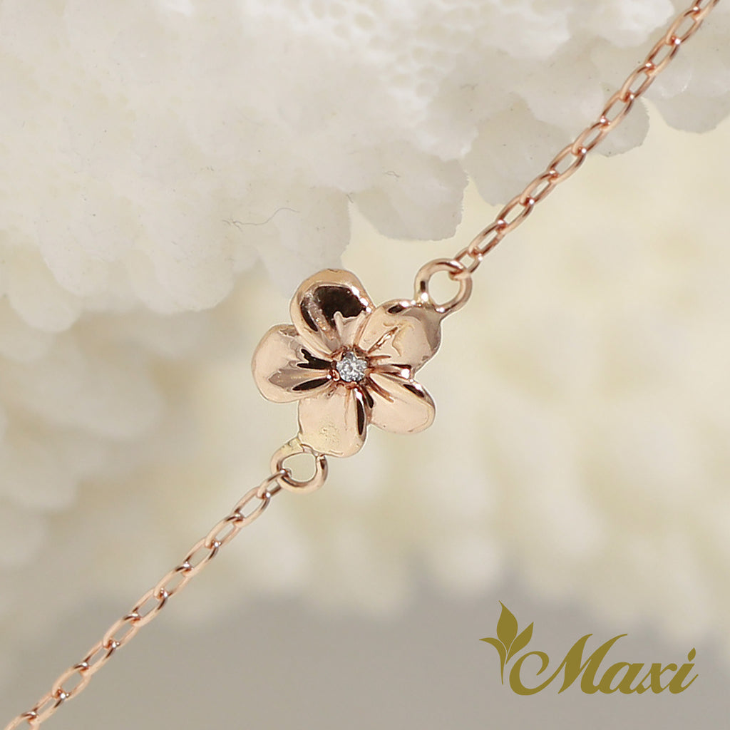 [14K Pink Gold] Hawaiian Plumeria Flower Bracelet with Diamond (B0556)