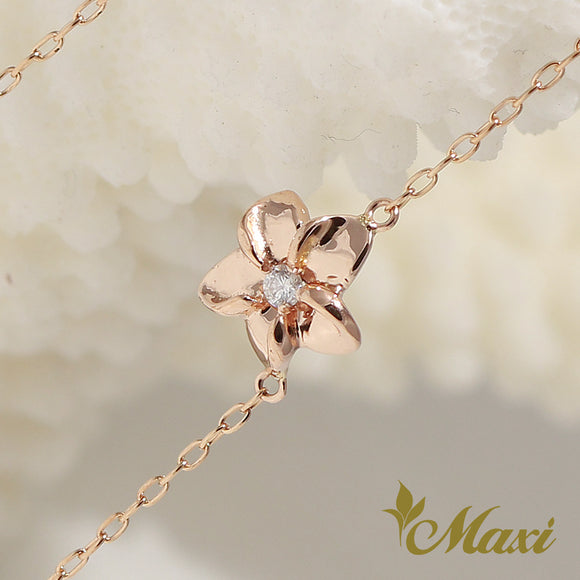 [14K Pink Gold]  -Hawaiian Plumeria Flower Bracelet with Diamond (B0557)