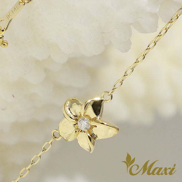 [14K Yellow Gold]  -Hawaiian Plumeria Flower Bracelet with Diamond (B0557)