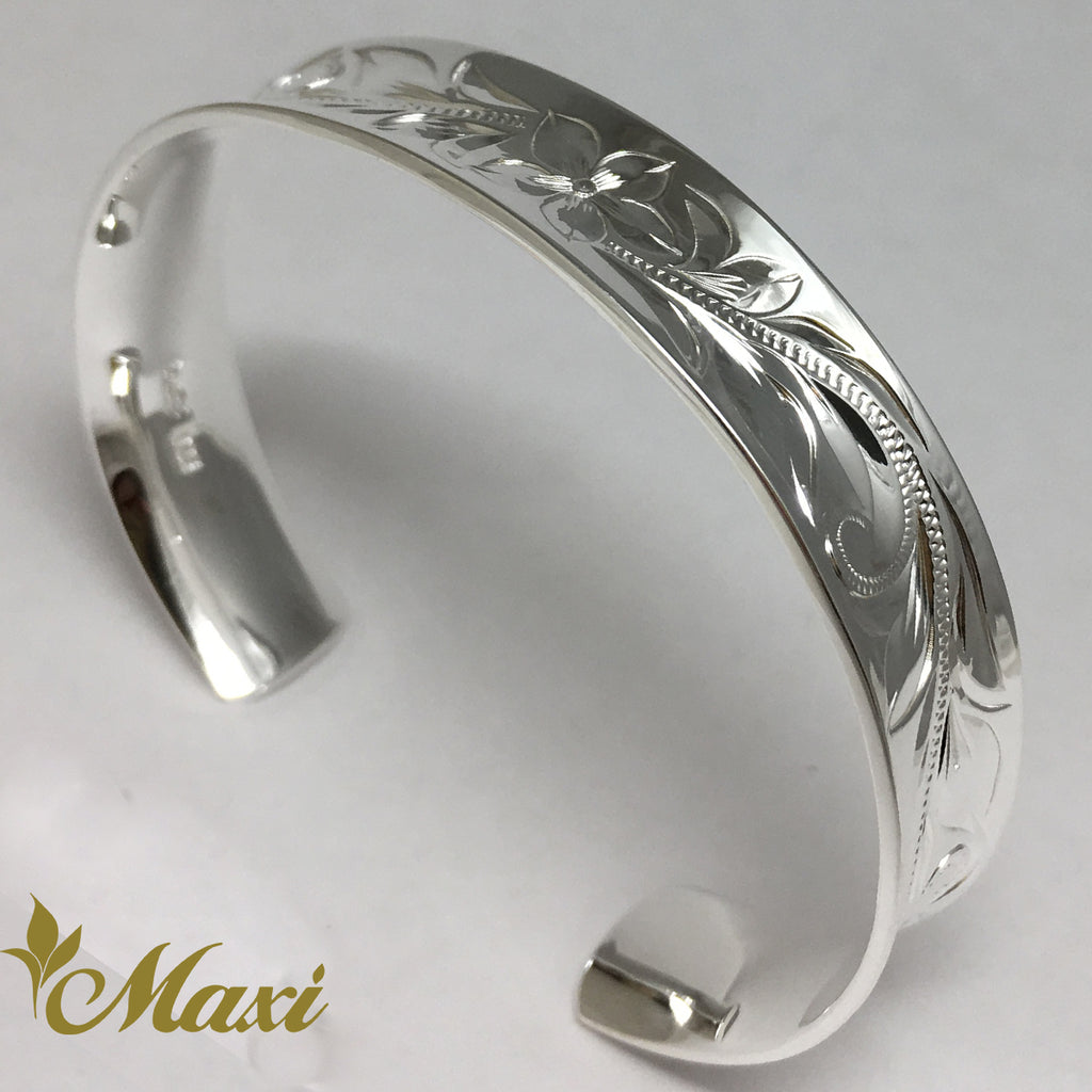 Silver 925 12mm Hawaiian traditional design Curl Bangle-Hand Engraved Traditional Hawaiian Design [Made to Order] (B0563)
