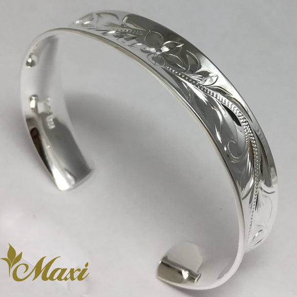 Silver 925 11mm Hawaiian traditional design Curl Bangle-Hand Engraved Traditional Hawaiian Design (B0563)