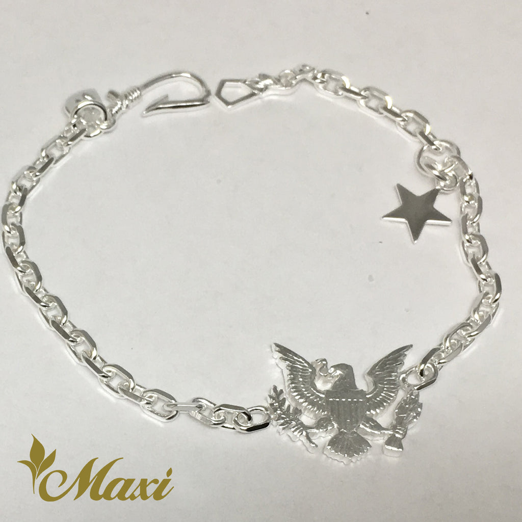 [Silver 925] Eagle Bracelet-Hand Engraved Traditional Hawaiian Design (B0569)