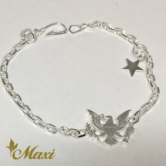 Silver 925 Eagle Bracelet-Hand Engraved Traditional Hawaiian Design (B0569)