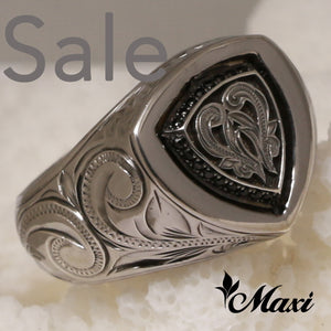 Black Chrome Silver 925 -Hand Engraved Traditional Hawaiian Design (R0570)
