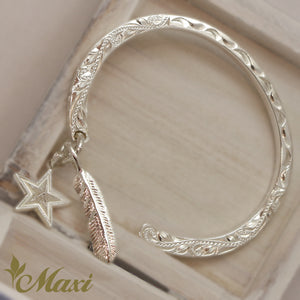 [Silver 925] Charm Bangle/ Feather+Star  (B0577 P1172 P1184)