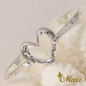 [Silver 925] Open Heart Bangle -Hand Engraved Traditional Hawaiian Design (B0584)