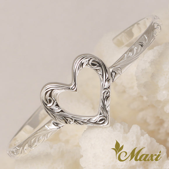 Silver 925 Open Heart Bangle-Hand Engraved Traditional Hawaiian Design (B0584)