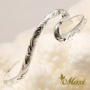 [Silver 925] Large Wave Bangle-Hand Engraved Traditional Hawaiian Design (B0585)
