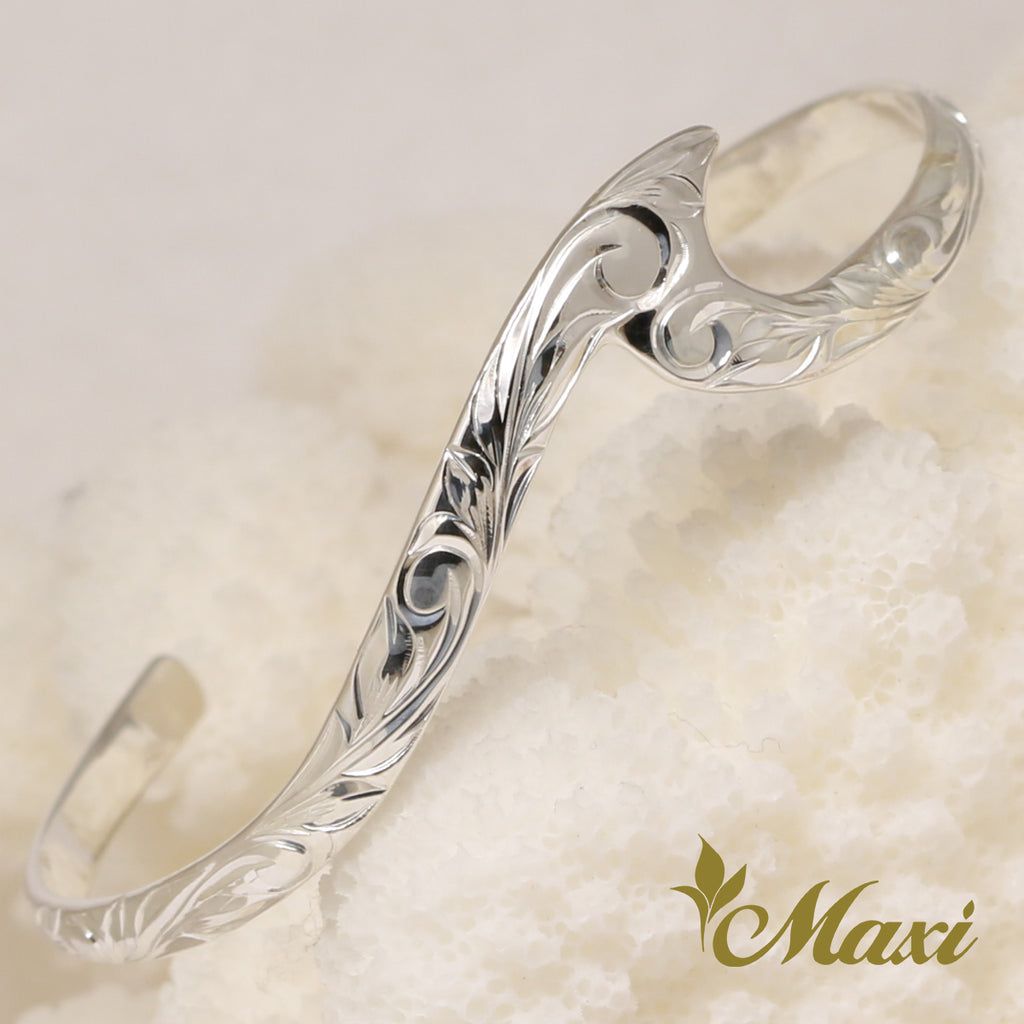 [Silver 925] Small Wave Bangle -Hand Engraved Traditional Hawaiian Design (B0586)