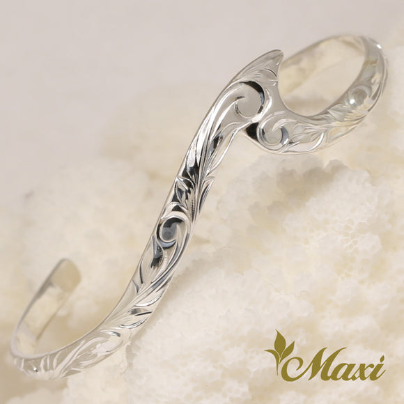 Silver 925 Small Wavy Bangle-Hand Engraved Traditional Hawaiian Design (B0586)