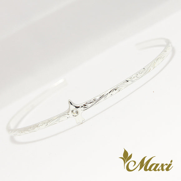 Silver 925 American Eagle Bangle-Hand Engraved Traditional Hawaiian Design (B0597)