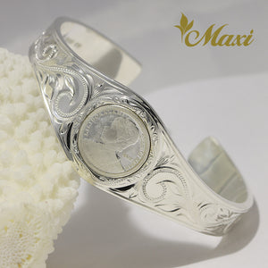 [Silver 925] Liliuokalani Replica Coin Bangle Bracelet (B0604) Made to Order